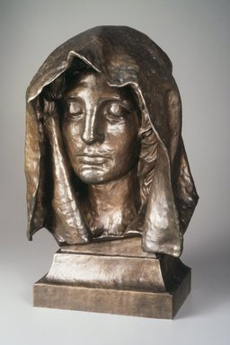 Augustus Saint-Gaudens (American, 1848-1907). Head from the Adams Memorial, modeled 1891, copyrighted 1908. Bronze, 19 5/16 x 12 x 7 1/2 in. (49.1 x 30.5 x 19.1cm). Brooklyn Museum, Robert B. Woodward Memorial Fund, 23.256. Creative Commons-BY