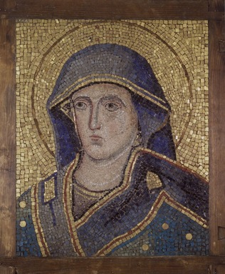 Jacopo Torriti (Italian, Roman, active 1270-1300). Head of the Madonna, 1296. Mosaic, 24 1/2 x 20 in.  (62.2 x 52.1 cm). Brooklyn Museum, Museum Collection Fund and Charles Stewart Smith Memorial Fund, 23.26. Creative Commons-BY