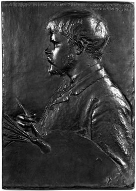 Augustus Saint-Gaudens (American, 1848-1907). Jules Bastien-Lepage, Modelled 1880. Bronze, wood frame, Frame: 24 3/8 x 18 1/2 x 1 in. (61.9 x 47 x 2.5 cm). Brooklyn Museum, Robert B. Woodward Memorial Fund, 23.288.3. Creative Commons-BY