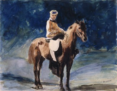 Édouard Manet (French, 1832-1883). The Equestrienne (L'Amazone), ca. 1875-1876. Watercolor with graphite and drawing on tan wove paper, 8 3/16 x 10 5/8 in. (20.8 x 27 cm). Brooklyn Museum, Gift of Frank L. Babbott, 23.45