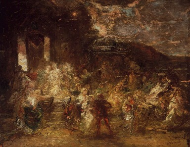 Adolphe Joseph Thomas Monticelli (French, 1824-1886). Fête champêtre, ca. 1865. Oil on panel, 21 7/16 x 26 in. (54.5 x 66 cm). Brooklyn Museum, Gift of Mrs. William A. Putnam, 23.46