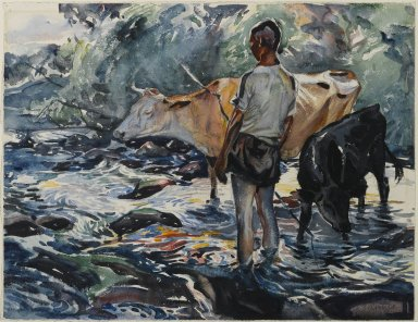John Edward Costigan (American, 1888-1972). Boy with Cows, ca. 1922. Watercolor Brooklyn Museum, Museum Collection Fund, 23.81