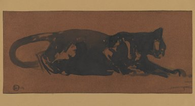 Henri Deluermoz (French, 1876-1943). Chat Noir. Watercolor, 6 1/2 x 15 in.  (16.5 x 38.1 cm). Brooklyn Museum, Museum Collection Fund, 23.82