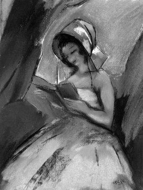 Charles Félix Gir (French, 1893-1941). Dancer Reading. Pastel, 14 x 10 1/2 in.  (35.6 x 26.7 cm). Brooklyn Museum, Gift of Edward C. Blum, 23.90