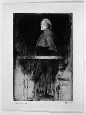 Albert Besnard (French, 1849-1934). La Femme à  la Pèlerine, n.d. Etching, dry-point, roulette on laid paper, 9 3/16 x 6 1/4 in. (23.4 x 15.8 cm). Brooklyn Museum, Museum Collection Fund, 24.224