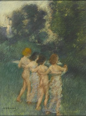 Arthur B. Davies (American, 1862-1928). Cherubian Children, 1900. Pastel applied both wet and dry over black watercolor with touches of crayon or colored pencil, 12 x 9 1/16 in. (30.5 x 23 cm). Brooklyn Museum, Gift of Frank L. Babbott, 24.246
