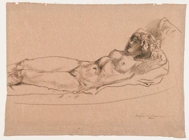 Arthur B. Davies (American, 1862-1928). Figure of a Reclining Nude, 1924. Crayon on rose-colored paper, Sheet: 13 1/2 x 18 1/4 in. (34.3 x 46.4 cm). Brooklyn Museum, Gift of Frank L. Babbott, 24.282. © Estate of Arthur B. Davies