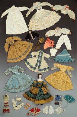 Cape, Sanitary Fair Doll, 1864. fabric, ribbon, 13 x 24 1/2 in. (33 x 62.2 cm). Brooklyn Museum, Gift of Mrs. Ira B. Downs, 24.311.10. Creative Commons-BY