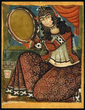 Lady with Tambourine, 19th century. Oil painting, Frame: 35 x 27 in. (88.9 x 68.6 cm). Brooklyn Museum, Museum Collection Fund, 24.435.1