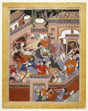 Indian. Led by Songhur Balkhi and Lulu the Spy, the Ayyars Slit the Throats of Prison Guards and Free Sa'id Farrukh-Nizhad, 1557-1572. Opaque watercolor and gold on cotton cloth, sheet: 30 7/8 x 24 1/2 in.  (78.4 x 62.2 cm). Brooklyn Museum, Museum Collection Fund, 24.46