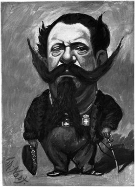 Thomas Nast (American, 1840-1902). Caricature of King Victor Emmanuel II, 1866. Oil on canvas, 47 15/16 x 35 13/16 in. (121.8 x 91 cm). Brooklyn Museum, Gift of Dr. Henry Moses, 24.66