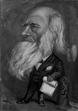 Thomas Nast (American, 1840-1902). Caricature of William Cullen Bryant, 1866. Oil, 47 15/16 x 35 3/4 in. (121.7 x 90.8 cm). Brooklyn Museum, Gift of Henry Moses, 24.67