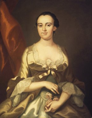 John Wollaston (ca. 1710-after 1775). Mrs. William Allen, ca. 1756. Oil on canvas, 35 7/8 x 28 5/8 in. (91.2 x 72.7 cm). Brooklyn Museum, Carll H. de Silver Fund, 24.81