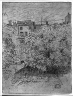 Julian Alden Weir (American, 1852-1919). My Backyard, Number Two, 1890. Etching and drypoint on laid paper, 7 7/8 x 5 15/16 in. (20 x 15.1 cm). Brooklyn Museum, Gift of Elizabeth Luther Cary, 25.102