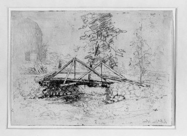 Julian Alden Weir (American, 1852-1919). The Wooden Bridge, 19th century. Etching on thin Japan paper, 5 1/16 x 7 in. (12.9 x 17.8 cm). Brooklyn Museum, Gift of Elizabeth Luther Cary, 25.103