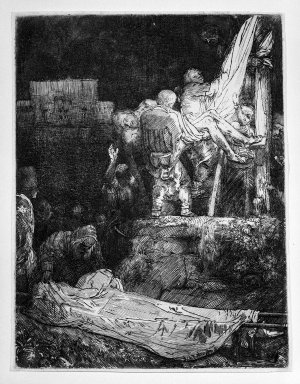 Rembrandt Harmensz. van Rijn (Dutch, 1606-1669). The Descent from the Cross by Torchlight, 1654. Etching and drypoint on laid paper, Plate: 8 1/4 x 6 3/8 in. (21 x 16.2 cm). Brooklyn Museum, Gift of Mrs. Frederic B. Pratt, 25.116