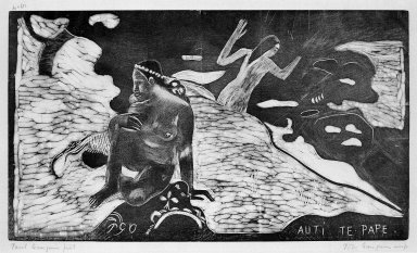 Paul Gauguin (French, 1848-1903). Auti Te Pape (Women at the River), carved winter 1893-1894; printed 1921. Woodcut on China paper, Image: 8 x 14 in. (20.3 x 35.6 cm). Brooklyn Museum, Museum Collection Fund, 25.145