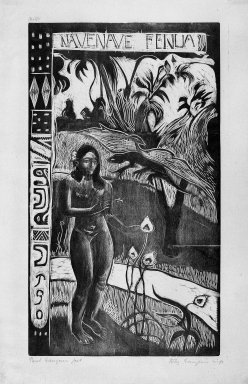 Paul Gauguin (French, 1848-1903). Nave Nave Fenua (Fragrant Isle), carved winter 1893-1894; printed 1921. Woodcut on wove China paper, Image: 13 15/16 x 8 1/16 in. (35.4 x 20.5 cm). Brooklyn Museum, Museum Collection Fund, 25.146