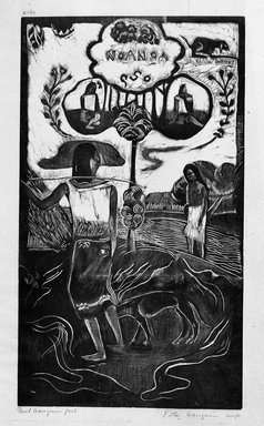 Paul Gauguin (French, 1848-1903). Noa Noa (Fragrant Scent), carved winter 1893-1894; printed 1921. Woodcut on China paper, Image: 14 x 8 1/16 in. (35.6 x 20.5 cm). Brooklyn Museum, Museum Collection Fund, 25.147