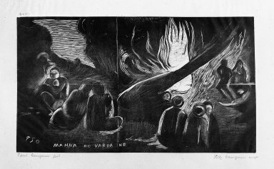 Paul Gauguin (French, 1848-1903). Mahna No Varua Ino (The Devil Speaks), carved 1893-1894; printed 1921. Woodcut on China paper, Sheet: 10 1/2 x 16 1/4 in. (26.7 x 41.3 cm). Brooklyn Museum, Museum Collection Fund, 25.156