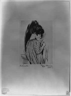 Peggy Bacon (American, 1895-1987). Belinda, 1925. Drypoint on cream-colored wove paper, Plate: 3 15/16 x 2 15/16 in. (10 x 7.5 cm). Brooklyn Museum, 25.172. © Estate of Peggy Bacon