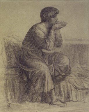 Dante Gabriel Rossetti (British, 1828-1882). Dante, ca. 1879. Charcoal on wove paper, 17 1/2 x 14 1/2 in. (44.5 x 36.8 cm). Brooklyn Museum, Gift of Frank L. Babbott, 25.183