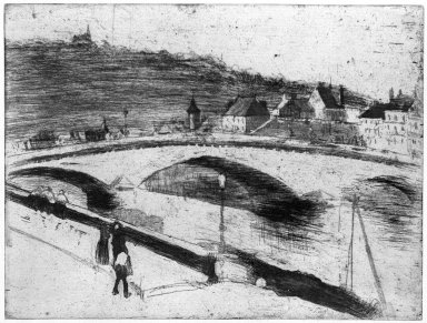 Camille Jacob Pissarro (French, 1830-1903). Stone Bridge at Rouen (Le Pont de Pierre à Rouen), 1887. Drypoint and softground etching on laid paper, Sheet: 10 3/4 x 14 1/8 in. (27.3 x 35.9 cm). Brooklyn Museum, Brooklyn Museum Collection, 25.186