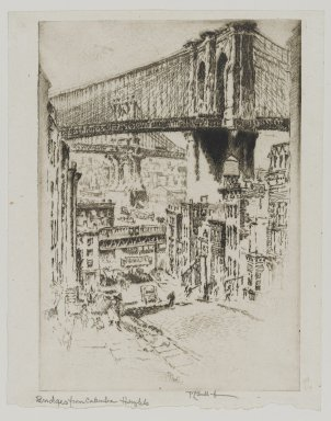 Joseph Pennell (American, 1860-1926). The Bridges From Brooklyn, 1921. Etching, Image: 9 3/4 x 10 3/16 in. (24.8 x 25.8 cm). Brooklyn Museum, Gift of Edward C. Blum, 25.30