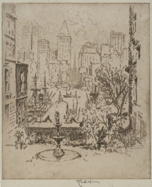 Joseph Pennell (American, 1860-1926). From Clark Street to Wall Street, 1924. Etching, Image: 8 7/8 x 7 1/2 in. (22.5 x 19 cm). Brooklyn Museum, Gift of Edward C. Blum, 25.34