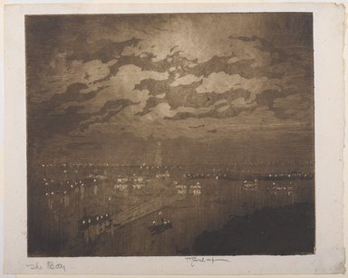 Joseph Pennell (American, 1860-1926). The Bay, New York, 1922. Aquatint, Image: 7 7/16 x 8 7/8 in. (18.9 x 22.6 cm). Brooklyn Museum, Gift of the artist, 25.37