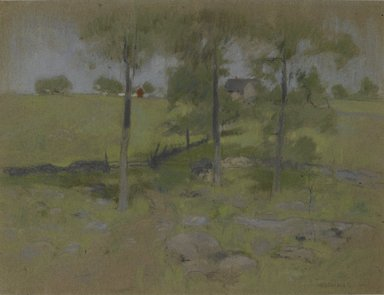 John Henry Twachtman (American, 1853-1902). Three Trees, ca. 1888-1895. Pastel on gray-brown, moderately thick, moderately textured wove paper with black, blue, and red threads., 14 x 18in. (35.6 x 45.7cm). Brooklyn Museum, Museum Surplus Fund, 25.416