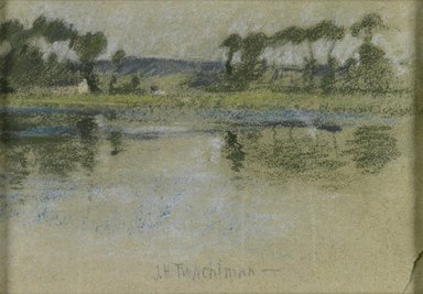 John Henry Twachtman (American, 1853-1902). Trees Across the River, late 19th century. Pastel on paper, Sight: 7 3/8 x 10 5/8 in. (18.7 x 27 cm). Brooklyn Museum, Museum Surplus Fund, 25.418