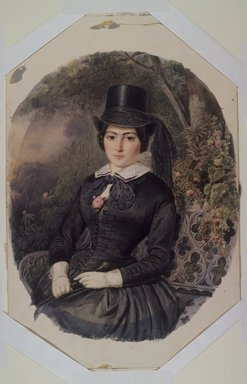 Ernest-Joseph-Angelon Girard (French, 1813-1898). Portrait of a Woman in Black, 1855. Watercolor on paperboard, Image: 14 3/4 x 11 3/4 in. (37.5 x 29.8 cm). Brooklyn Museum, Caroline H. Polhemus Fund, 25.423