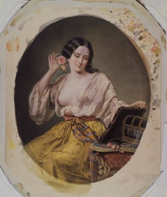Ernest-Joseph-Angelon Girard (French, 1813-1898). Young Woman at Her Toilette, probably mid-1860s. Watercolor on paperboard, Image: 13 15/16 x 11 1/4 in. (35.4 x 28.6 cm). Brooklyn Museum, Caroline H. Polhemus Fund, 25.424