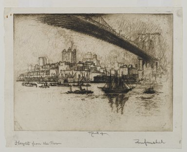 Joseph Pennell (American, 1860-1926). The Heights, Brooklyn, 1924. Etching, Sheet: 8 5/16 x 10 1/2 in. (21.1 x 26.7 cm). Brooklyn Museum, Gift of the artist, 25.43