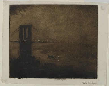 Joseph Pennell (American, 1860-1926). Brooklyn Bridge at Night, 1922. Aquatint in black ink on cream, light-weight, slightly textured laid paper, Sheet: 8 3/8 x 10 1/2 in. (21.3 x 26.7 cm). Brooklyn Museum, Gift of the artist, 25.50