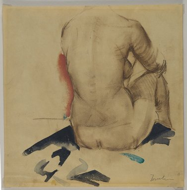 Bradley Walker Tomlin (American, 1899-1953). Back, ca. 1925. Conté crayon and watercolor on medium, beige, moderately textured, laid paper paper with watermark, Sheet: 11 1/2 x 11 5/16 in. (29.2 x 28.7 cm). Brooklyn Museum, Gift of Frank L. Babbott, 25.520