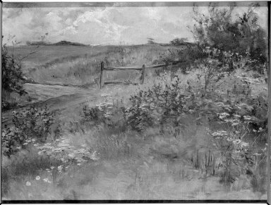 Sarah  Paxton Ball Dodson (American, 1847-1906). A Farm Road, Buxted, 1898. Oil on canvas, 13 7/8 x 17 15/16 in. (35.2 x 45.5 cm). Brooklyn Museum, Gift of R. Ball Dodson, 25.524