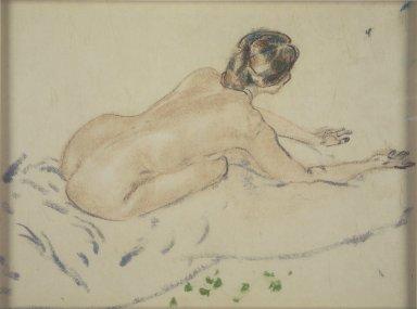 Arthur B. Davies (American, 1862-1928). Nude, n.d. Pastel on beige Japanese laid paper mounted to wood-pulp board, Sheet: 11 x 14 1/2 in. (27.9 x 36.8 cm). Brooklyn Museum, Gift of Frank L. Babbott, 25.713. © Estate of Arthur B. Davies
