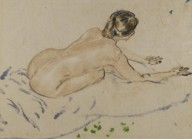 Arthur B. Davies (American, 1862-1928). Nude, undated. Pastel on beige Japanese laid paper mounted to wood-pulp board, Sheet: 11 x 14 1/2 in. (27.9 x 36.8 cm). Brooklyn Museum, Gift of Frank L. Babbott, 25.713. © Estate of Arthur B. Davies