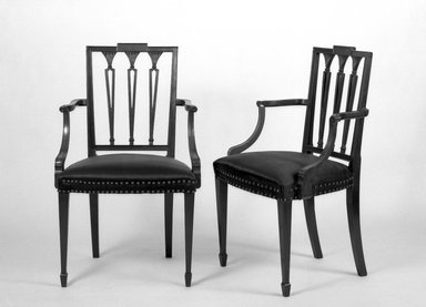 American. Two Mahogany Armchairs, ca. 1800. Mahogany, 36 3/4 x 21 1/4 x 17 in. (93.3 x 54 x 43.2 cm). Brooklyn Museum, Gift of Mrs. E. C. Philip, 25.816.1-.2. Creative Commons-BY