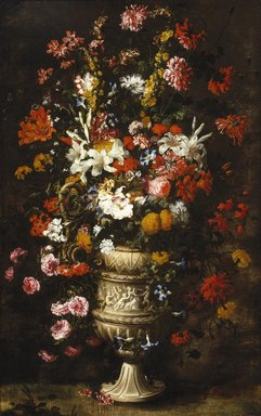 Jan Peeter Brueghel (Flemish, 1628-after 1664). Flowers in a Figured Vase, ca. 1670s. Oil on canvas, 73 3/4 x 46 5/8 in. (187.3 x 118.4 cm). Brooklyn Museum, Gift of Dr. James Warren Lane, 25.838