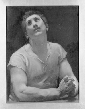 """Kenyon Cox (American, 1856-1919). The Blessed Damozel: """"But God Shall Lift,"""" 1886. Oil, grisaille on canvas, Design: 17 1/2 x 13 in. Brooklyn Museum, Gift of Mrs. Daniel Chauncey, 25.840o"""