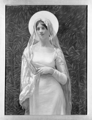"Kenyon Cox (American, 1856-1919). The Blessed Damozel: ""Where the Lady Mary Is,"" 1886. Oil, grisaille on canvas, Design: 19 3/4 x 14 7/8 in. Brooklyn Museum, Gift of Mrs. Daniel Chauncey, 25.840p"