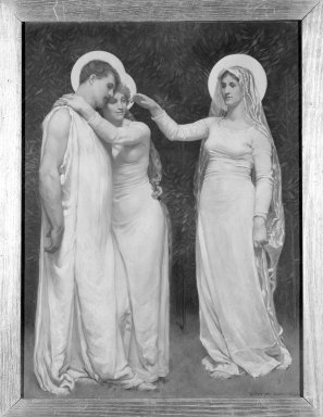 """Kenyon Cox (American, 1856-1919). The Blessed Damozel: """"And the Dear Mother Will Approve,"""" 1886. Oil, grisaille on canvas, 24 x 18in. (61 x 45.7cm). Brooklyn Museum, Gift of Mrs. Daniel Chauncey, 25.840q"""