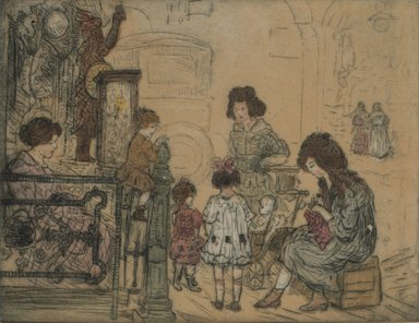 Jerome Myers (American, 1867-1940). Street Scene. Etching and aquatint, Sheet: 9 15/16 x 11 11/16 in. (25.2 x 29.7 cm). Brooklyn Museum, Gift of the artist, 25.889. © Estate of Jerome Myers