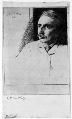 Julian Alden Weir (American, 1852-1919). Portrait of John F. Weir, 1890. Drypoint on laid paper, Sheet: 10 3/8 x 6 1/16 in. (26.4 x 15.4 cm). Brooklyn Museum, Gift of Elizabeth Luther Cary, 25.99