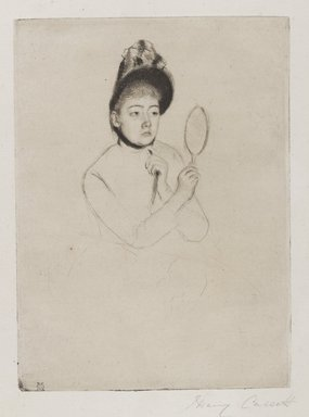 Mary Cassatt (American, 1844-1926). Femme au Mirroir (The Bonnet), ca. 1891. Drypoint on cream-colored laid paper, Plate: 7 5/16 x 5 3/8 in. (18.6 x 13.6 cm). Brooklyn Museum, Gift of Frank L. Babbott, 26.32