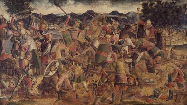 North Italian School, possibly Vicenza or Padua. A Battle Scene, ca. 1500. Tempera and oil on canvas, 24 x 42 1/2 in. (61 x 108 cm). Brooklyn Museum, Gift of Frank L. Babbott, 26.517