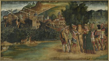 North Italian School, possibly Vicenza or Padua. The Marriage of Jason and Medea, ca. 1500. Tempera and oil on canvas, 24 x 42 1/2 in. (61 x 108 cm). Brooklyn Museum, Gift of Frank L. Babbott, 26.518